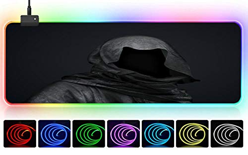 RGB-Maus Schwarzer Umhang Teufel Geist Horror kreative Alternative Mauspad Spiel PC cool riesigen Büro Teppich Junge Mädchen Kind Geschenk Sport Präzision