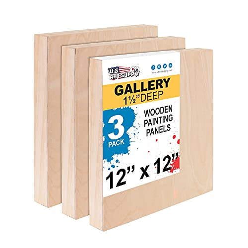 U.S. Art Supply 12' x 12' Birch Wood Paint Pouring Panel Boards, Gallery 1-1/2' Deep Cradle (Pack of 3) - Artist Depth Wooden Wall Canvases - Painting Mixed-Media Craft, Acrylic, Oil, Encaustic