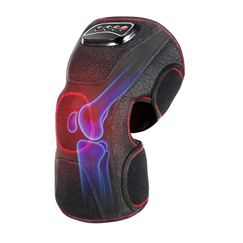 QUINEAR Knee Massager with Heat Air Compression Leg Knee Brace Wrap for Arthritis Pain Relief Eletric Heating for Joint Pain, Cramps and Circulation 3 Modes & 3 Intensities - Single