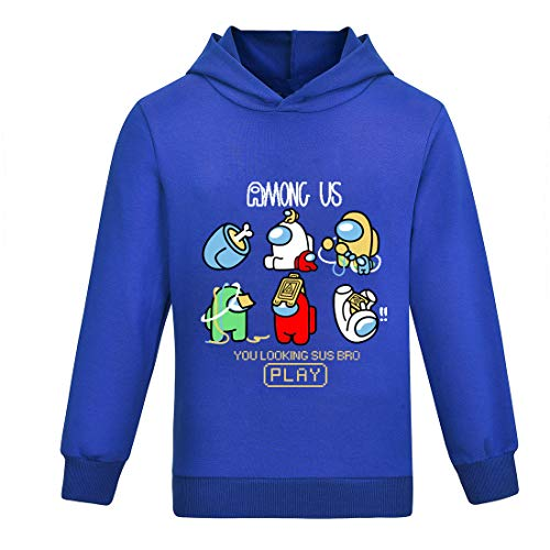 Thombase Niño You Looking So Sus Bro Impostor Among Us Sudaderas con Capucha Tops de Manga Larga Camiseta (Azul, 150)