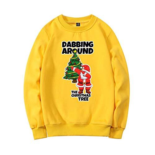 HOUHOU Christmas 3D Print Crew Neck Sweater Unisex Men Women Dabbing Santa Claus Christmas Novelty Ugly Christmas Warm Sweater U3 Sweater (Color : Yellow, Size : S)