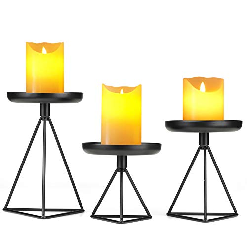 Bikoney Candle Holder Candlestick Holders for Home Decor Wedding Dinning Party Metal Geometric Pillar Candle Stand Fits Candles of Various Sizes, Set of 3 Blcack