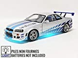 Greenlight Brian's 1999 Nissan Skyline GT-R (BNR34) with Working Led Ground Effects Fast & Furious: 2 Fast 2 Furious (2003) Movie 1/18 Diecast Model Car 19041