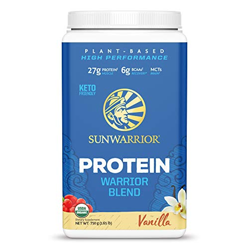 Sunwarrior - Warrior Blend - Plant Based Raw Vegan Pea Protein Powder with Hemp Protein and MCTs from Coconut - Vanilla - 750g