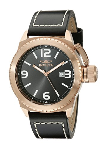 """Invicta Men's 1112 """"Corduba Collection"""" 18k Rose Gold-Plated Stainless Steel Watch with Leather Strap"""