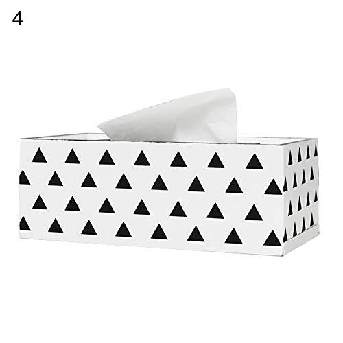 Funie Taschentuchbox, modernes nordisches Karomuster, dreieckiges Holz, für Papiertücher, Heimdekoration, 1 Stück 4 OneColor