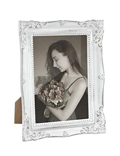 13x18 Bilderrahmen Weiß Grau Holz Vintage Barock Antik Fotorahmen Shabby Rustikal Home Deko zum Schreibtisch