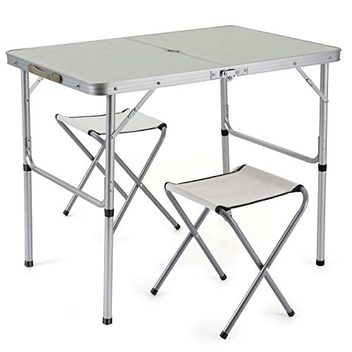 Sunkorto 2-Person Folding Picnic Table with 2 Stools 0.9M Aluminum Alloy Utility Table Chair Set Heights Adjustable Portable for Outdoor Camping Dining BBQ Party