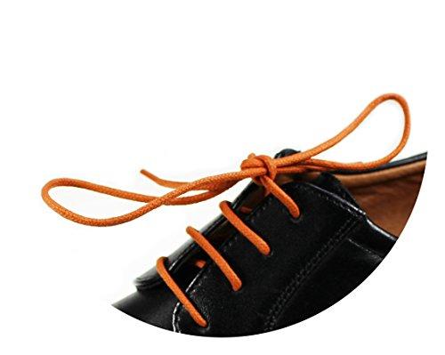 Loco!Laces - lacci per scarpe cerati, colorati, rotondi, per scarpe eleganti e in pelle, lunghezza: 80cm, diametro: 2,5mm, Arancione (3x arancione), 3er Pack