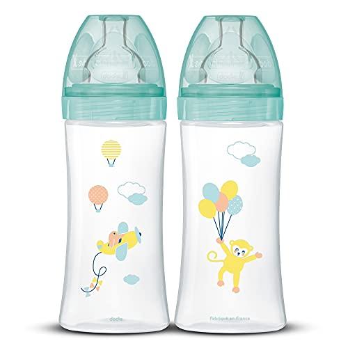 DODIE Lot de 2 Biberons Anti-Colique Sensation+ (2x330 mL) - Tétine Plate, Débit 3, Sans BPA - +6 mois – Vert Air