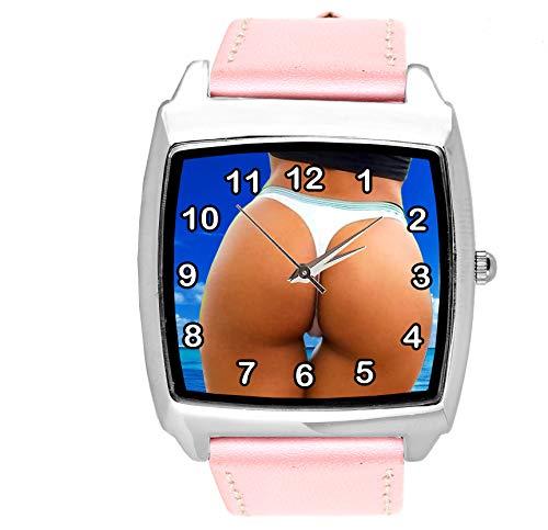 TAPORT® Hot Ass Quarz-Armbanduhr, quadratisch, Echtlederband, Pink