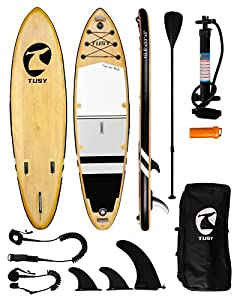 """Extra Wide Design: Easy to stand up and balance on the TUSY 10'6"""" x 33"""" x 6"""" paddle board! The wide deck and performance shape make for fast, fun paddling for all skill levels. Camera Mount Design: The camera mount on the head of the SUP paddle board..."""