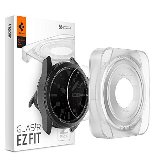 Spigen, 2 Stück, Panzerglas Schutzfolie kompatibel mit Samsung Galaxy Watch 3 45mm, Schablone für Installation, Hüllenfre&lich, Kristallklar, 9H Glas, 0.3 mm, Galaxy Watch 3 45mm Schutzfolie