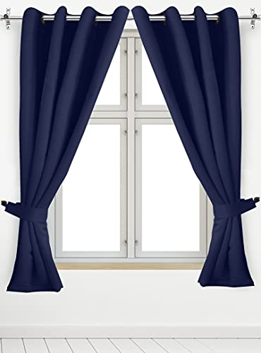Utopia Bedding 2 Panels Grommet Blackout Curtains with 2 Tie Backs, Thermal Insulated for Bedroom, W52 x L63 Inches, Navy