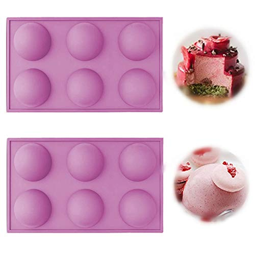 Large 6 Holes Semi Sphere Silicone Mold, Baking Mold for Making Chocolate, Cake, Jelly, Dome Mousse (2 PACKS-purple)