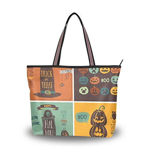 NaiiaN Geldbörse Shopping Light Weight Strap Einkaufstasche Handtaschen Umhängetaschen für Frauen Mädchen Damen Student Halloween Kürbis Laterne Hut Eule