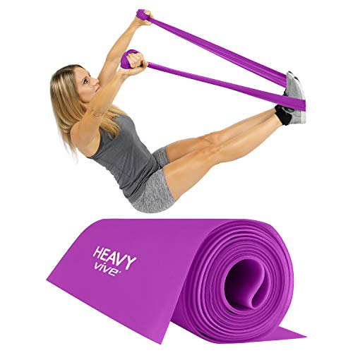 Vive Flat Resistance Band for Woman- Elastic Exercise Equipment - Straight Stretching Fitness Training for Full Body, Leg, Crossfit, PT Yoga Stretch, Rehab Therapy - Home Gym (Heavy)
