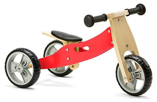 Nicko Mini 2-in-1 Laufrad aus Holz, für Kleinkinder, Rot, ab 18 Monaten