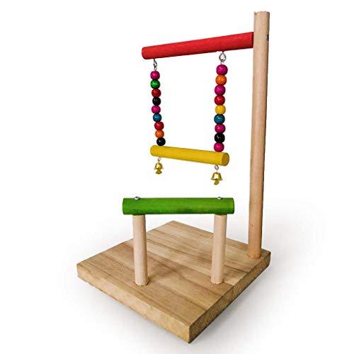 huiingwen Loro de madera patio de entrenamiento perca plataforma colgante jaula decoración aves garras escalada escalera rampa masticar ejercicio juguete para pájaros loros jugando suministros