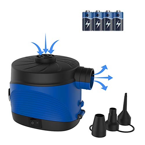 Battery Electric Air Pump, Portable Electrical Air Pump with 3 Nozzles, Quick-Fill Inflator/Deflator for Air Bed Mattress Paddling Pool Floats Rafts Boats Toys and Camping Travel Inflatables