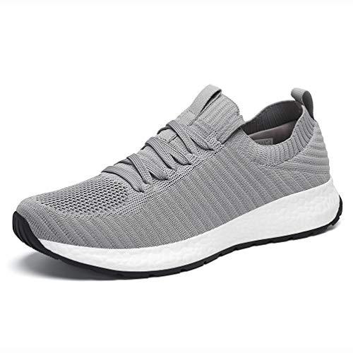 AFFINEST Herren Laufschuhe Sportschuhe Atmungsaktiv Turnschuhe Leichte Sneaker Grau 43