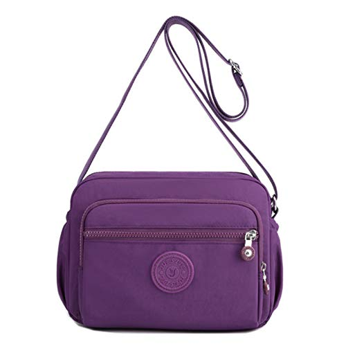 Bolso De Hombro De Nylon Para Mujer Bolso Impermeable Bolso Ligero Mensajero Mamá Bolsa Billetera(Size:26 * 13 * 20cm,Color:Púrpura)