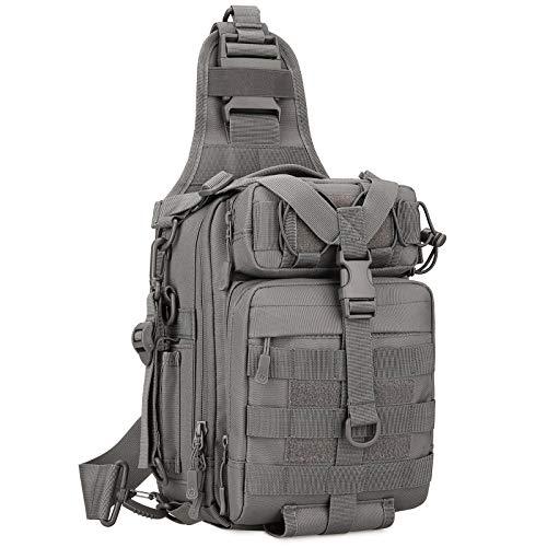 Huntvp Taktische Brusttasche Militär Schultertasche Wasserdicht Sling Rucksack Crossbody Bag Multifunktion für AngelnSport Camping Radfahren Outdoor, Typ-3 Grau