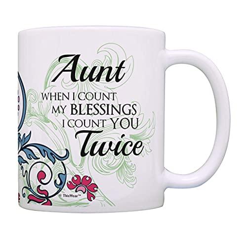 N\A Regalos de cumpleaños para tía Cuando Cuento mis bendiciones Te Cuento Dos Veces Regalo de tía Taza de café Taza de té Multi