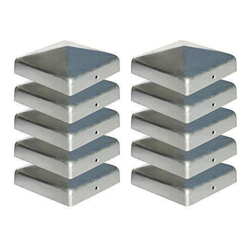 10 x Pfostenkappe für Zaunpfosten (101x101 mm)   Verzinktem Stahl   Pyramiden Form   Abdeckkappe für Holzpfosten VIIRKUJA