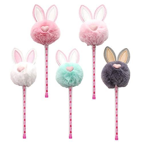 Hongfago 5 bolígrafos de gel con pompón de 0,5 mm, bolígrafos de gel de dibujos animados de animales de gel Kawaii para oficina, suministros escolares para niños, mujeres, niñas, regalo