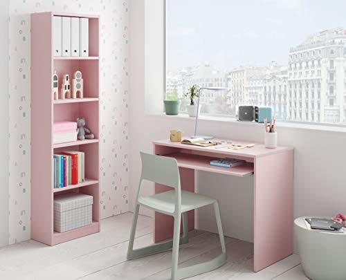 Miroytengo Pack Estudio Juvenil Infantil I-Joy Color Rosa habitación Dormitorio Estilo Moderno (Escritorio + estantería)