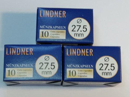 30 Stück Original LINDNER Münzkapseln 27,5 mm, passend für 5 Euro