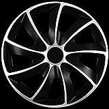 Premium Tapacubos Doble Capa de Color Plateado y Negro, 4 Unidades, Q 13 14 15 16