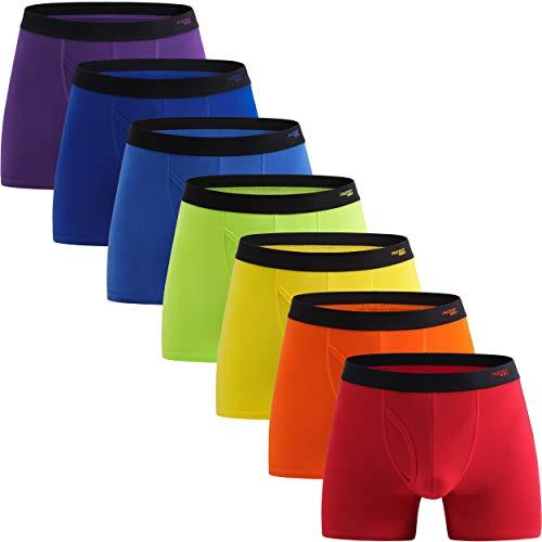 INNERSY Unterhosen Männer Baumwolle Boxershorts mit Eingriff Herren Bunt Unterwäsche 7er Pack (L, Rainbow Color)