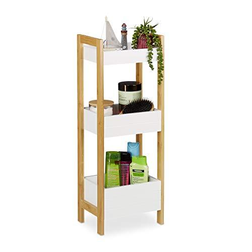 Relaxdays Badregal mit 3 Körben, Standregal Bambus & MDF, HxBxT: 74,5 x 28 x 20 cm, freistehend, Küchenregal, Natur/weiß, 1 Stück