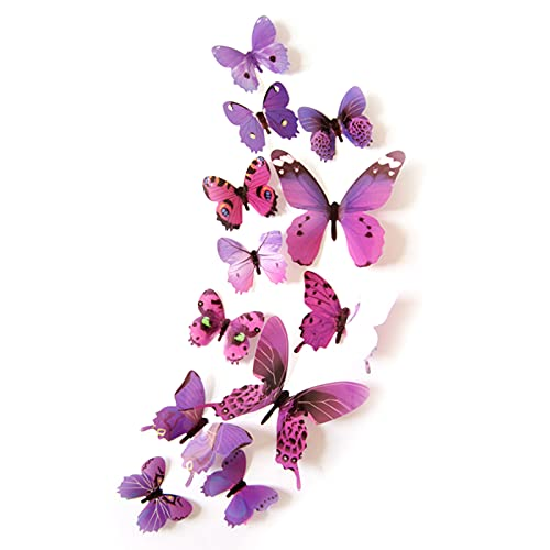 BULABULA 12PCS Butterfly Decorations Stickers 3D Butterflies Decor Removable Mural Stickers Art Decor for Home Living Room