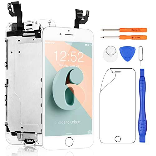 Yodoit för iPhone 6 LCD Display Pekskärm Glas 4,7 Vit med Främre Kamera, Hemknapp, Hörlurshögtalare + Reparation Verktyg