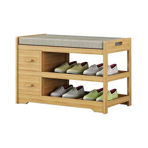 YISUNF Zapatero Banco de Almacenamiento Mueble con cajón Almacenamiento Pasillo de Entrada Simple Moderna Muebles de bambú Superficie de Asiento
