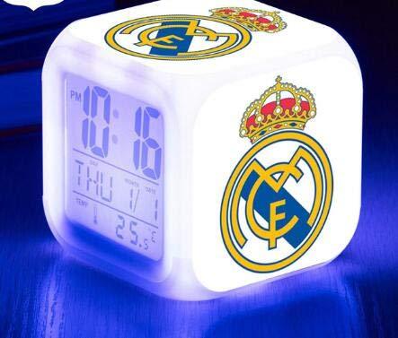 Logotipo Fútbol Fútbol Liga Luminosa Deportes LED Reloj Despertador Alarma 7 Color Flash Reloj Digital