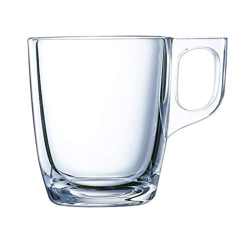 Luminarc Nuevo Set 6 tazas desayuno mugs café expresso de vidrio para microondas 9cl, Negro