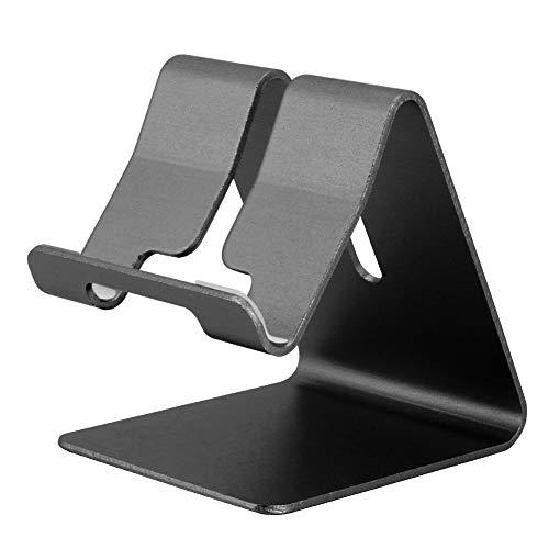 YIFengFurun Soporte para teléfono, Aleación de aluminio Soporte para teléfono móvil Soporte de escritorio para todos los teléfonos inteligentes, ajuste libre de herramientas (negro)