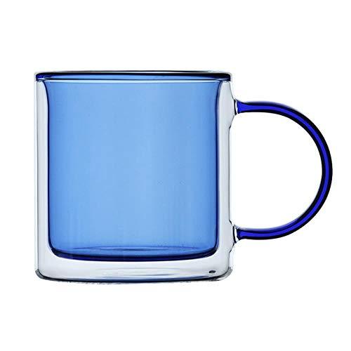 Vidrio de color transparente de doble capa del hogar de cristal de la manija de la cinta resistente al calor alto borosilicato