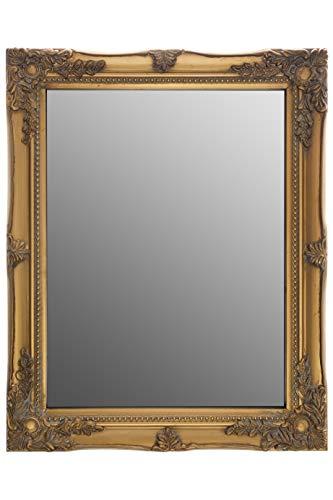 elbmöbel 37x47x3,5cm rechteckiger Wand-Spiegel, handgefertigter Vintage-Antik-Rahmen, Gold, inkl. Befestigung