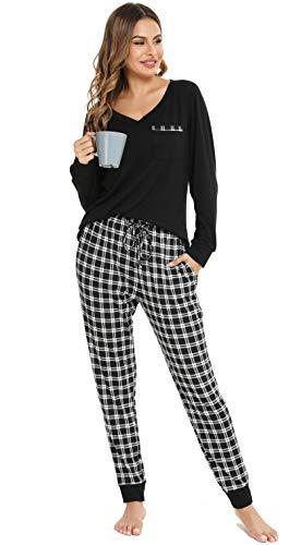 Vlazom Damska pidżama długa, dwuczęściowa piżama damska, dekolt w serek, spodnie w kratkę, długi rękaw, zestaw dwuczęściowy