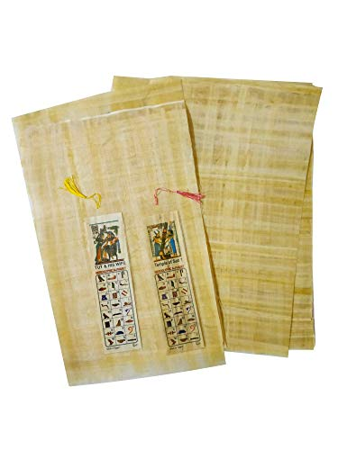 10 Egyptian Papyrus Paper 8x12 Inch (20x30 cm) - Ancient Alphabets Papyrus Sheets-Papyri for Art Project, Scrapbooking, and School History - Ideal Teaching Aid Scroll Paper