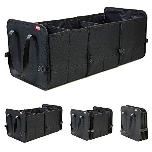 achilles Vario-Box Opvouwbare auto-organizer in grootte verstelbare kofferbak-tas mand met klittenbandbevestiging op de bodem grote vouwmand opbergdoos zwart 72 x 33 x 30 cm