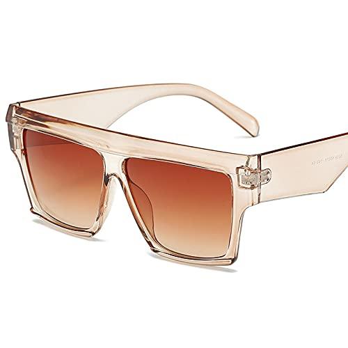 XUANTAO Europea y Americana moda gran marco gafas de sol tendencia hombres y mujeres marco personalidad gafas retro salvaje gafas transparente marco té gradiente té