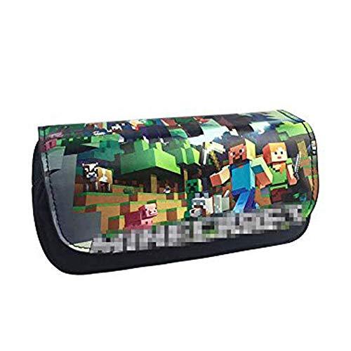 Anime-Cosplay-Federmäppchen, doppelschichtig, Stifteetui für Studenten, Teenager, mit Fächern, Kulturbeutel, Make-up, Handtasche, Stifttasche, Halter, Gras mit Erde 5