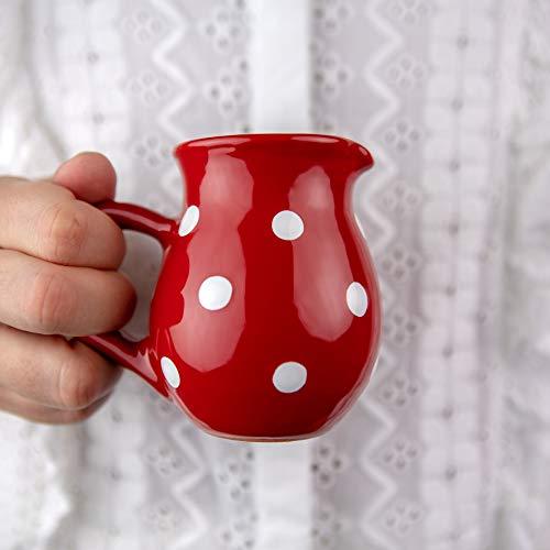 City to Cottage® - Keramik Milchkännchen   Rot und Weiß   Polka Dots   Handgemacht   Keramik Geschirr Kännchen   150 ml