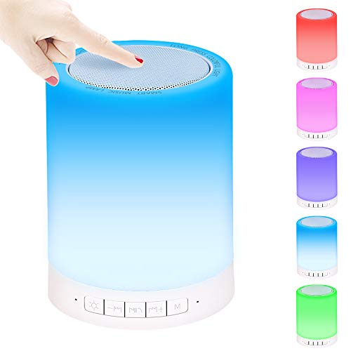 Bluetooth Lautsprecherlampe,Lucksun Touch Nachttischlampe Intelligentes Nachtlicht Dimmbares warmes Licht&mehrfarbig,tragbar, Campingleuchte für den Aussenbereich, Feriengeschenke für Jungen,Mädchen